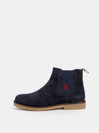 Tmavomodré pánske semišové chelsea topánky U.S. Polo Assn. Faust