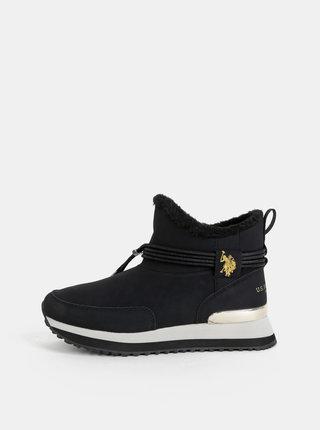 Čierne dámske zimné členkové topánky U.S. Polo Assn. Vanessa