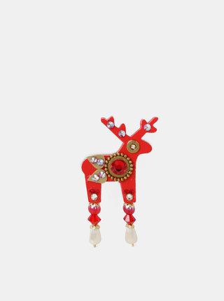 Červená malá brož s kamínky Preciosa Components Deers Finn