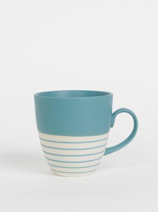Krémovo-modrý pruhovaný hrnček Tranquillo Hans 500 ml