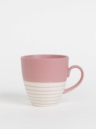 Krémovo-růžový pruhovaný hrnek Tranquillo Tristan 500 ml