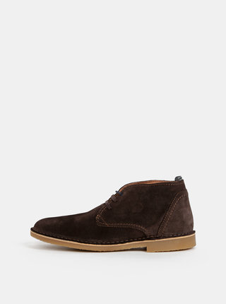 Hnědé semišové zimní kotníkové boty Selected Homme Royce