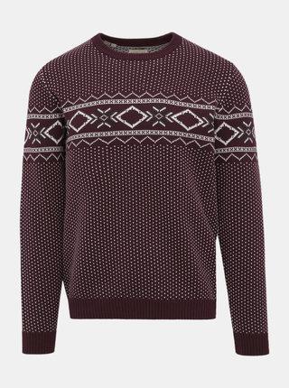 Vínový vzorovaný sveter Selected Homme Blizzard