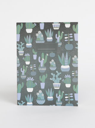 Tmavozelený vzorovaný zápisník Tranquillo Pricky