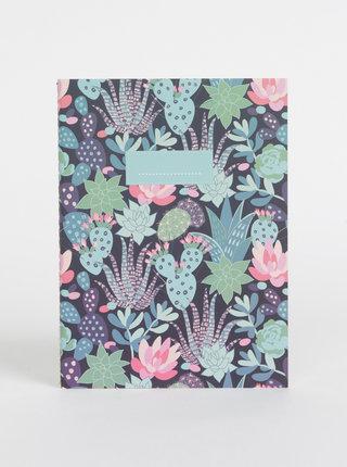 Tmavomodrý vzorovaný zápisník Tranquillo Succulent