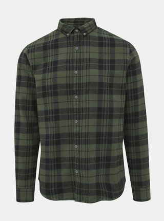 Tmavě zelená flanelová kostkovaná košile ONLY & SONS Gustauv