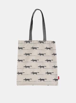 Béžová plátená taška s potlačou Tranquillo Foxy