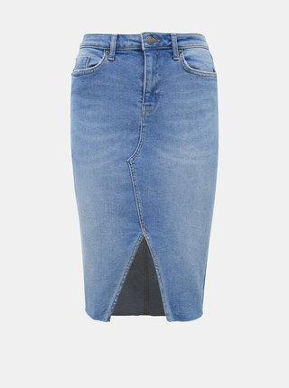 Světle modrá džínová pouzdrová sukně Miss Selfridge