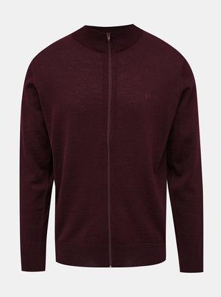 Vínový pánsky vlnený sveter na zips Blue Seven
