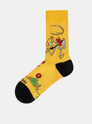 Hořčicové vzorované ponožky Fusakle Ferdo Mravec