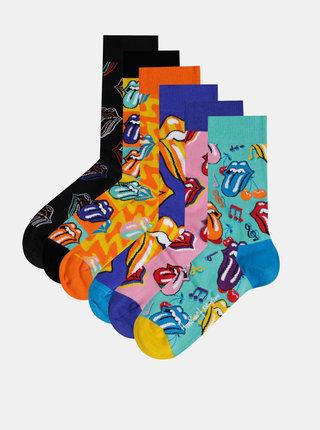 Sada šesti párů vzorovaných ponožek v černé, modré, růžové a oranžové barvě v dárkové krabičce Happy Socks Rolling Stones