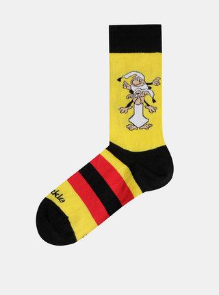 Žluté vzorované ponožky Fusakle Kremienok a Chocholusik