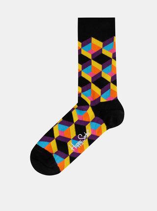 Čierne vzorované ponožky Happy Socks Optic Square