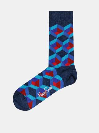 Modré vzorované ponožky Happy Socks Optic Square