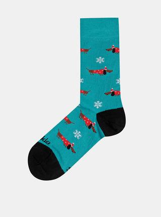Tyrkysové vzorované ponožky Fusakle Hotdog vianocny