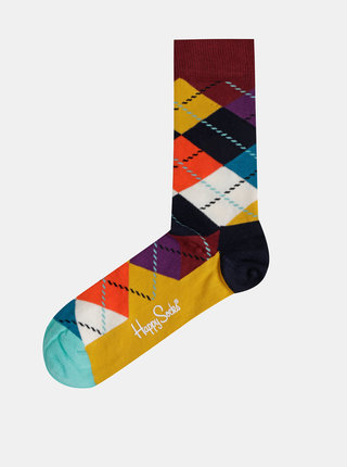Hnedo-horčicové vzorované ponožky Happy Socks Argyle