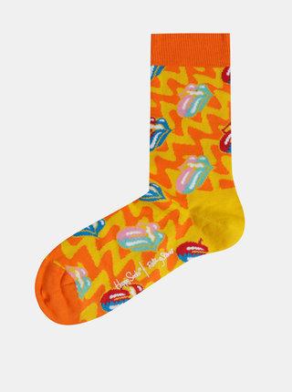 Oranžovo-žluté vzorované ponožky Happy Socks Rolling Stones
