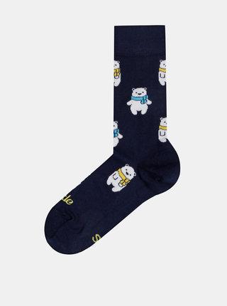 Tmavě modré vzorované ponožky Fusakle Macik ladovy