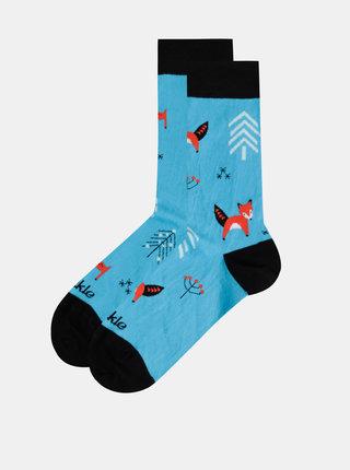 Modré vzorované ponožky Fusakle Party v lese