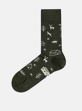Khaki vzorované ponožky Fusakle Dedina