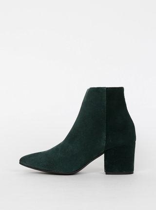 Tmavě zelené semišové kotníkové boty VERO MODA Astrid