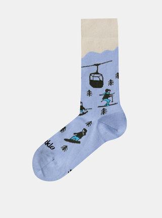 Svetlomodré vzorované ponožky Fusakle Na svahu