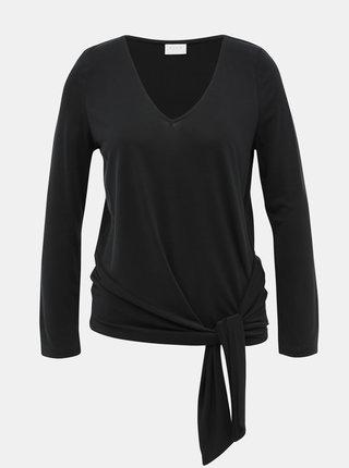 Černé tričko s uzlem VILA Atetsy