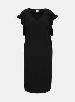 Černé šaty s volánem VILA Joan