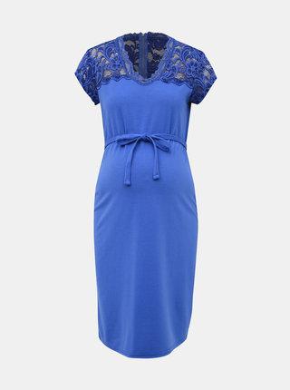 Modré těhotenské šaty s krajkou Mama.licious Blackie Mivana