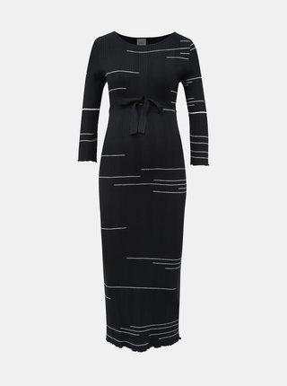 Tmavě modré vzorované svetrové těhotenské maxi šaty Mama.licious Fifi