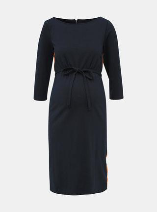 Tmavě modré těhotenské šaty s lampasem Mama.licious Tine