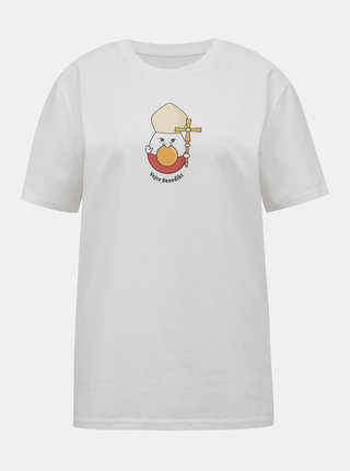 Biele dámske tričko s potlačou ZOOT Original Vejce Benedikt