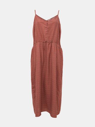 Tehlové vzorované maxi šaty ONLY CARMAKOMA Diana