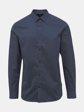 Tmavě modrá puntíkovaná slim fit košile ONLY & SONS Alves