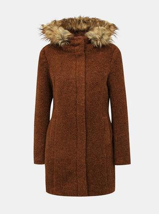 Hnedý kabát s prímesou vlny ONLY Gianna