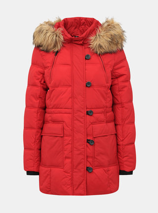Červená prešívaná zimná bunda ONLY New Ottowa