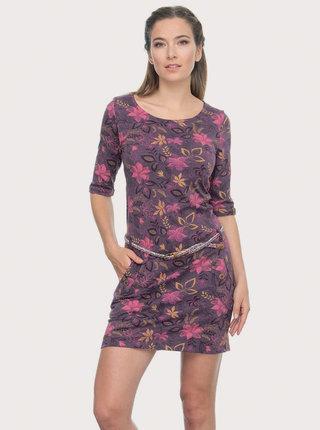 Fialové květované šaty Ragwear Tanya