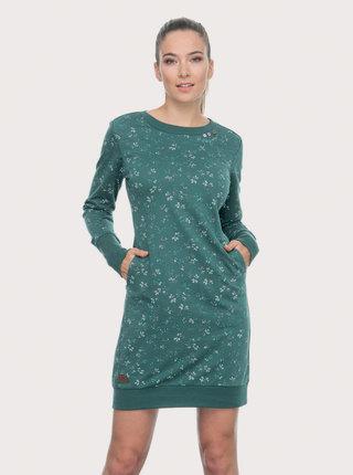 Zelené vzorované mikinové šaty Ragwear Menita Flowers