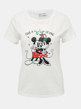 Biele tričko s potlačou ONLY Disney Mickey Mouse