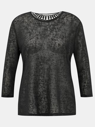 Černé tričko s krajkou na zádech Jacqueline de Yong Petra