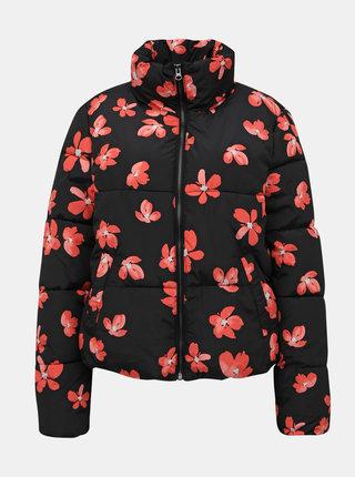 Černá květovaná zimní bunda Jacqueline de Yong Erica