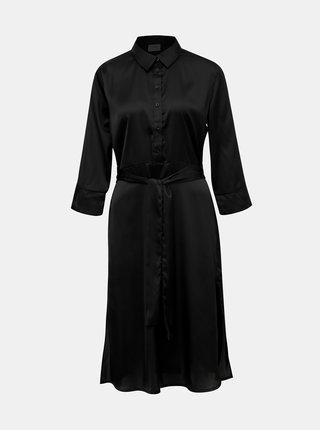 Černé saténové košilové midišaty Jacqueline de Yong Fifi
