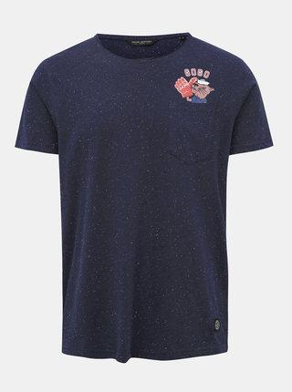 Tmavomodré žíhané tričko s potlačou Shine Original