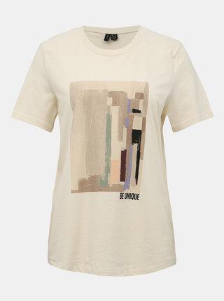 Krémové tričko s potlačou VERO MODA Dana