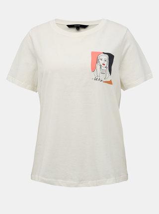 Krémové tričko s potiskem VERO MODA Fonda