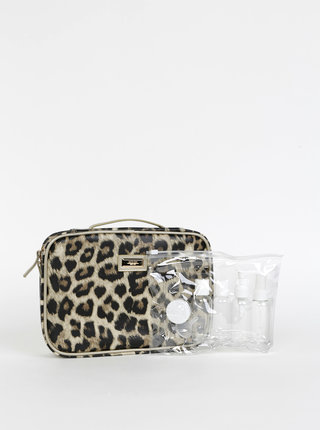 Svetlohnedá cestovná kozmetická taštička s leopardím vzorom Something Special
