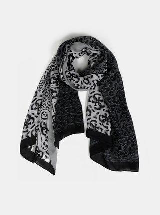 Šedo-zelený dámský šátek s leopardím vzorem Guess