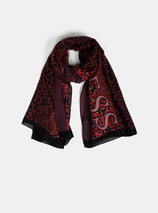Vínový dámský šátek s leopardím vzorem Guess