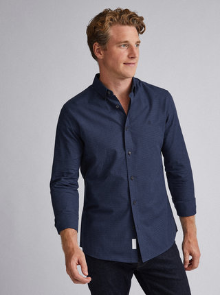 Tmavě modrá kostkovaná slim fit košile Burton Menswear London