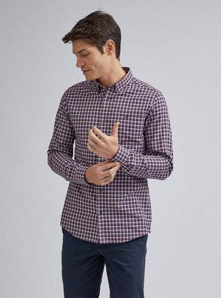 Vínová kostkovaná slim fit košile Burton Menswear London
